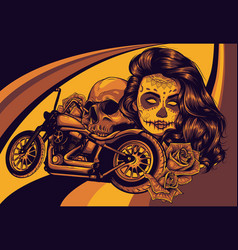 Girl with skeleton make up with motorcycle vector