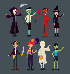 halloween card with people in disguise vector image