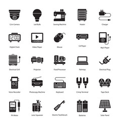 Household and electronic appliances glyph vector