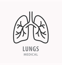 Human lungs line icon on white background vector