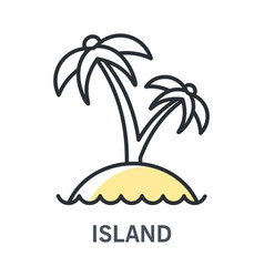 island isolated line icon summer landscape palm vector image