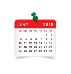 june 2018 calendar calendar sticker design vector image