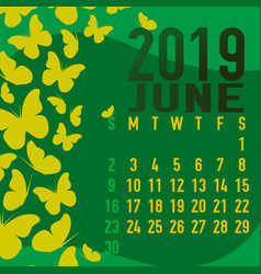 June 2019 calendar template with abstract vector