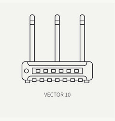 Line flat computer part icon wireless vector