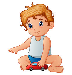 Little boy playing toy car vector