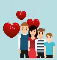Lovely family poster together heart decoration vector