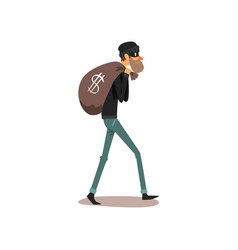 male thief carrying money bag robber cartoon vector image