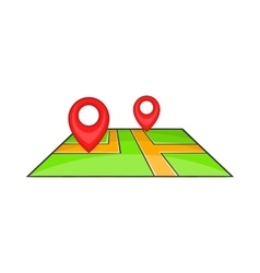Map with pointers icon cartoon style vector image