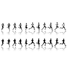 Marathon runner 11 steps silhouettes vector