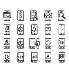Mobile application icon set 3 line stye vector
