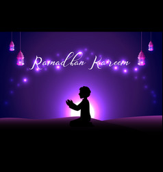 muslim man praying silhouette at the desert night vector image
