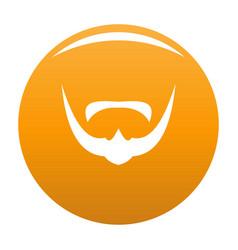 Mustache icon orange vector