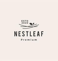 nest leaf hipster vintage logo icon vector image