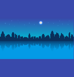 night city with reflection and starry sky vector image