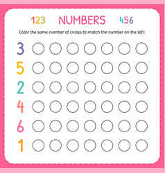 Numbers for kids worksheet for kindergarten and vector