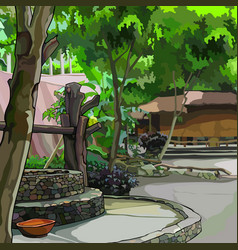 Painted summer courtyard with plants with vector