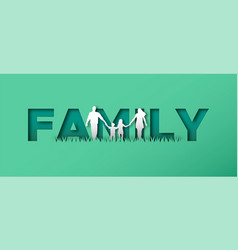 Papercut family walking together concept vector