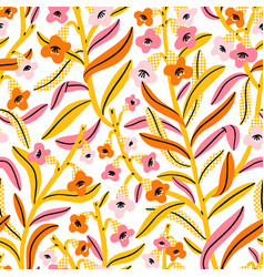 pink yellow and orange floral pattern vector image