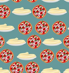 Pizza and pasta-national food of Italy Seamless vector image