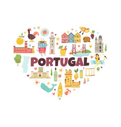 Portugal abstract design with icons symbols object vector