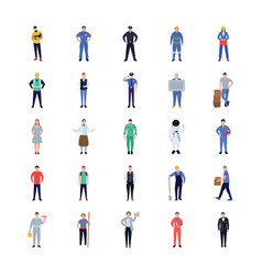 professions flat icons design vector image