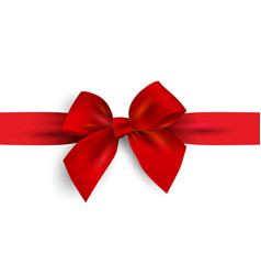 realistic red bow with ribbon isolated on white vector image