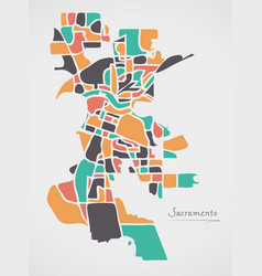 Sacramento california map with neighborhoods and vector