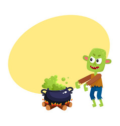 scary green zombie monster and halloween caldron vector image