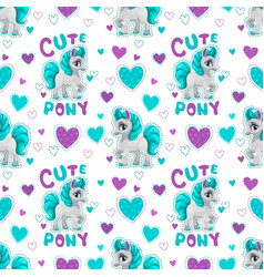 seamless pattern with cute cartoon horse princess vector image