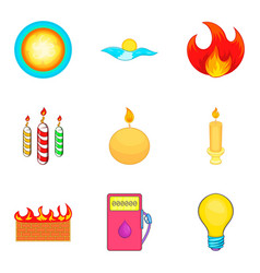 Searchlight icons set cartoon style vector