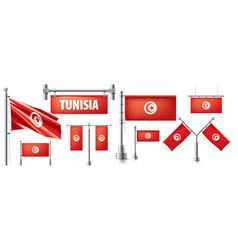 Set national flag tunisia vector