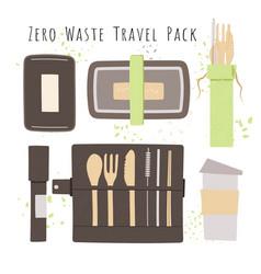 Set natural bamboo travel cutlery kit vector