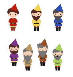 Set of cartoon happy dwarf set of cartoon happy vector