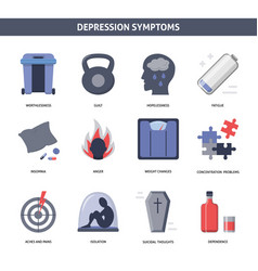 set of depression symptoms icons in flat style vector image