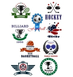 Set of sport games icons and symbols vector image