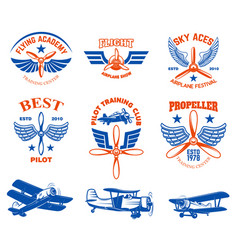 set vintage airplane show emblems design vector image