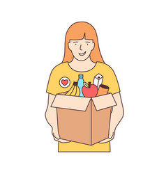 smiling female volunteer carrying box with fruits vector image