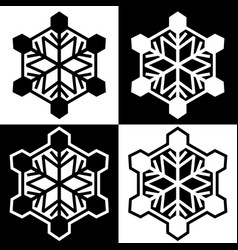 snowflake symbols icons simple black white set 7 vector image