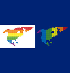 spectrum pixel dotted north america map vector image