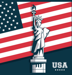 statue of liberty united states usa flag emblem vector image