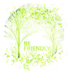 Summer and spring watercolor trees vector