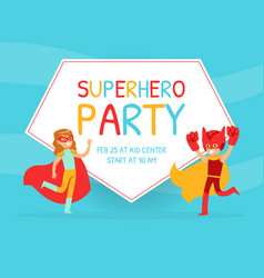 superhero party invitation card happy birthday vector image