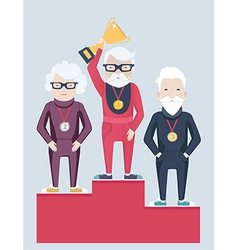 Three elderly people on a winners podium vector