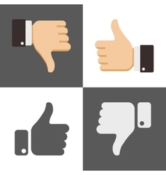 Thumbs up and down like dislike icons for social vector