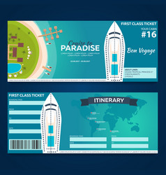 Travel cruise to paradise ticket cruise liner vector