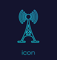 turquoise antenna line icon isolated on blue vector image