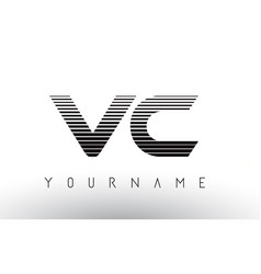 Vc black and white horizontal stripes letter logo vector