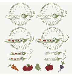vegetarian restaurant labels with peas with vector image