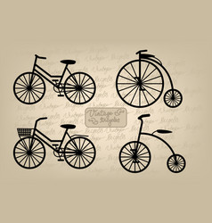 Vintage bicycles vector