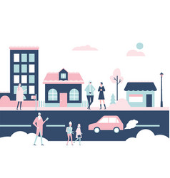 winter city - flat design style colorful vector image